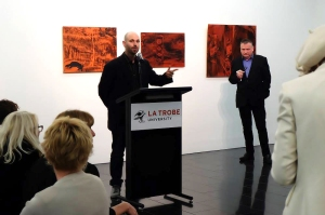 Artist Ash Keating speaks at the Façade Project launch.