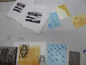 Works in progress by Natasha Joyce and Janet Bromley.