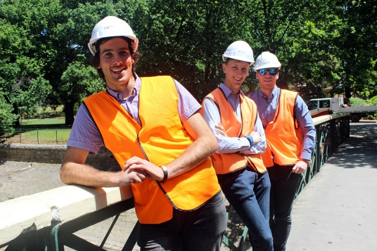 Civil engineering students Lachlan Pittaway Dechlan Birt and John Cowell.