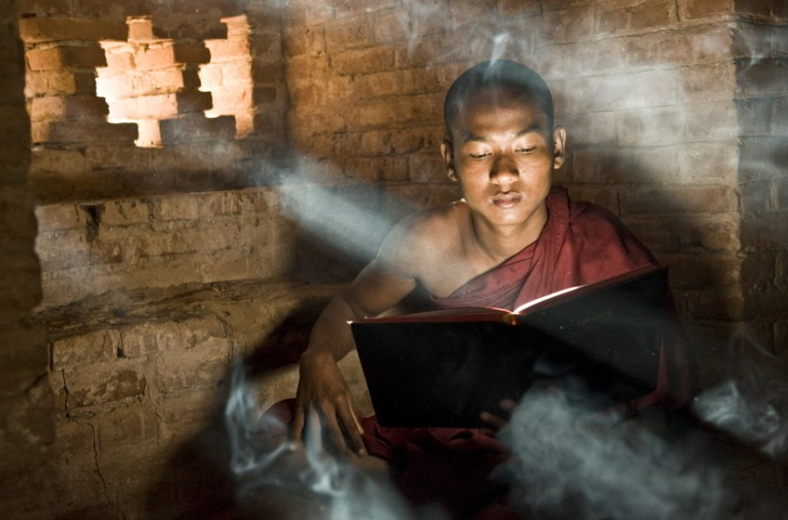 A monk in Myanmar. Photograph by Julie Hough.