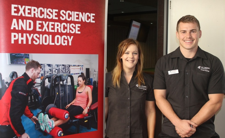 Master of Exercise Physiology students Demi Guy and Joshua Morrow.