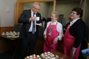 CWA members Janet Broockmann and Lyn Jacobsen prepare scones for Prime Minister Scott Morrison, after an egging attempt during a CWA conference in Albury, on Tuesday 7 May 2019. Prime Minister Scott Morrison's campaign during the 2019 Federal Election. fedpol ausvotes19 election19 Photo: Alex Ellinghausen