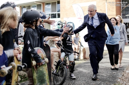Prime Minister Scott Morrison during a visit to the Bateau Bay PCYC to launch their online safety plan, in Bateau Bay, NSW, on Sunday 5 May 2019. Prime Minister Scott Morrison's campaign during the 2019 Federal Election. fedpol ausvotes19 election19 Photo: Alex Ellinghausen