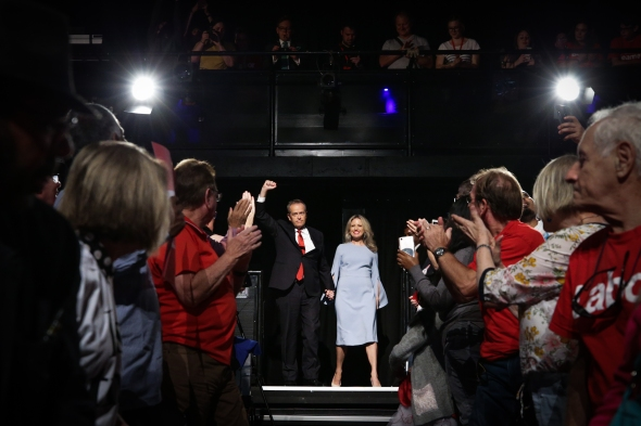 Opposition Leader Bill Shorten and Chloe Shorten during the 2019 Federal Election Volunteer Rally at the Southern Cross Vocational College in Burwood, NSW, on Sunday 14 April 2019. Opposition Leader Bill Shorten's campaign during the 2019 Federal Election. fedpol ausvotes19 election19 Photo: Alex Ellinghausen