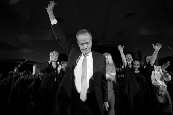 Deputy Opposition Leader Tanya Plibersek, Opposition Leader Bill Shorten and Linda Burney during the NSW Vote for Change rally at Bowman Hall, the same place where Gough Whitlam delivered his policy speech during the 1972 election campaign, in Blacktown, NSW, on Thursday 16 May 2019. Opposition Leader Bill Shorten's campaign during the 2019 Federal Election. fedpol ausvotes19 election19 Photo: Alex Ellinghausen