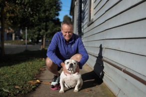 Opposition Leader Bill Shorten during a morning walk in his neighbourhood with his bulldog, Theo, after the Marybyrnong parkrun in Melbourne, on Saturday 11 May 2019. Opposition Leader Bill Shorten's campaign during the 2019 Federal Election. fedpol ausvotes19 election19 Photo: Alex Ellinghausen